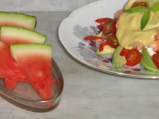 Räksmörgås utan bröd och Vattenmelon