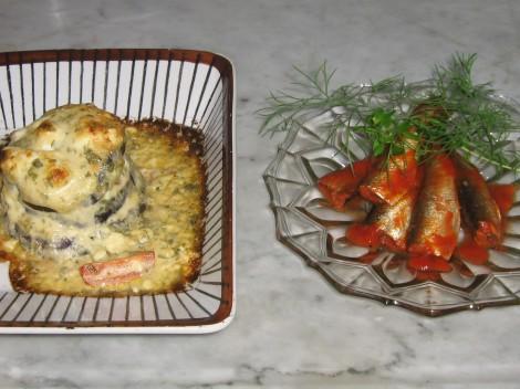 Gratinerad Aubergine med Sardiner. God Fiskrätt med mycket Omega-3