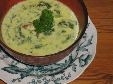 Soppa på Ost, Spenat och Varmrökt Sidfläsk
