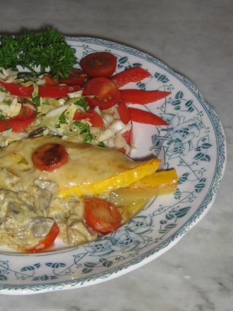 Köttfärsgratäng med Zucchini och smörstekt Fårticka