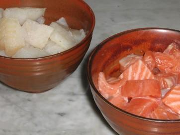 Citronmarinerad Lax och Alaskan Pollock till Fiskgryta