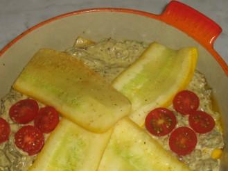 Köttfärsgratäng med Vitlöksost, Fårticka och Zucchini