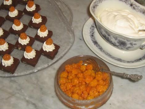 Nötchokladkakor med Hjortron och Grädde