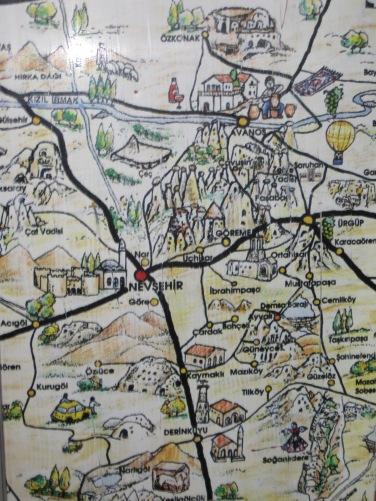 Karta över Kappadokien