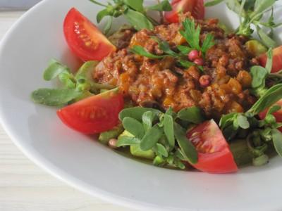 Köttfärssås med Zucchini och Tomat