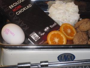 Ischoklad med apelsin och valnötter...