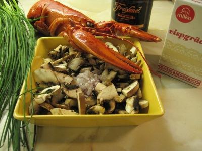 Ingredienser till gratinerad hummer