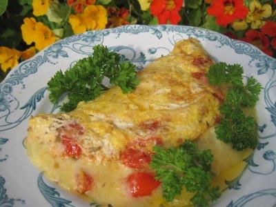 Ostomelett med tomat
