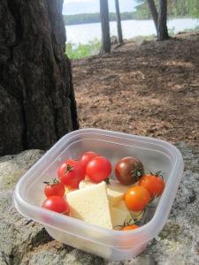 Ost, tomat och smör till picknick