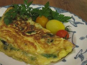 Omelett med ost, mangold och kaviar
