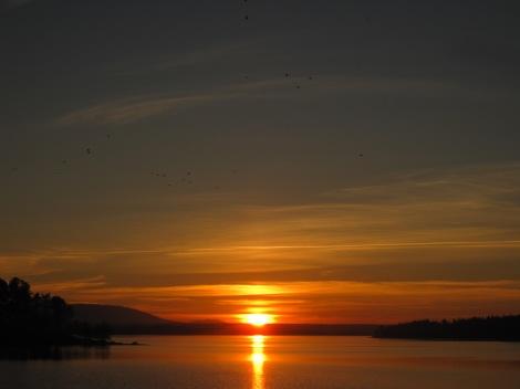 Solnedgång över fjällen sedd från Tivars Gård på Norderön