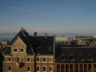 Utsikt från vår takvåning på Thon Hotel Trondheim