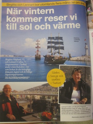 Artikel om Birgitta Höglund och långsemesterliv i Alanya