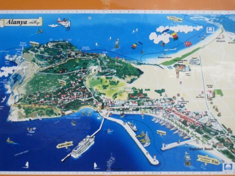 Karta över hamnen och Borgen i Alanya