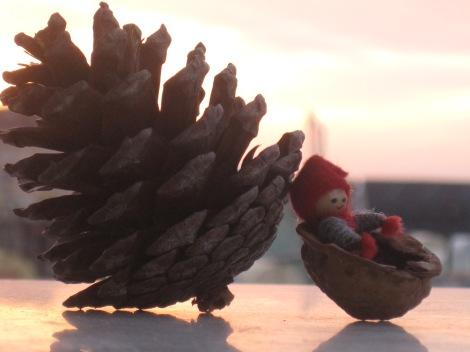 Tomten gillar lugnet de tidiga morgnarna i storstan och han är glad att det finns gott om pinjeträd och kottar bland alla höghus...