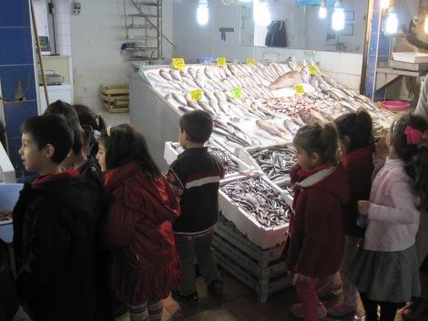 Intresserad skolklass på besök vid fiskdisken i Saluhallen...