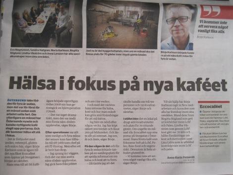 Artikel om Börje Karlsson och Ecocaféet i 100% Östersund