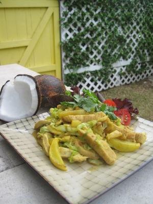 Wok med färsk kokos