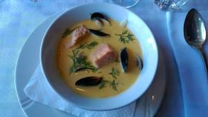 Läcker, fransk fiskgryta på La Bonne Vie...